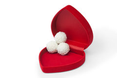 Open box in shape heart with candy Royalty Free Stock Photography