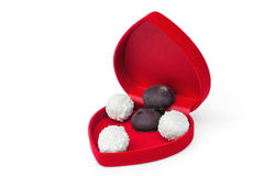 Open box in shape heart with candy Royalty Free Stock Photo