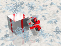 Open box and snowflakes Stock Photo