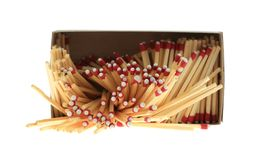 Open box of spilled matches Royalty Free Stock Photos