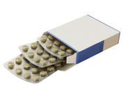 Open box of tablets stock photo