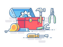 Open box with tools Royalty Free Stock Photography