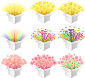Open boxes. Set of nine open boxes with various celebratory content Stock Images