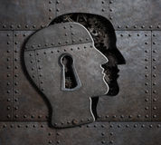 Open brain door with metal gears and cogs 3d illustration. Human brain door with keyhole concept made from metal gears and cogs Stock Photography