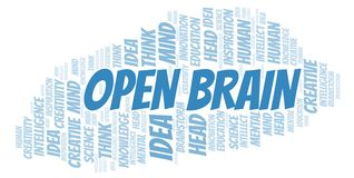 Open Brain word cloud. Wordcloud made with text only royalty free illustration
