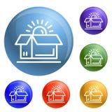 Open brand box icons set vector vector illustration