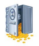 Open brandkast met gouden muntstukken Stock Afbeelding