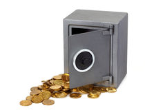 Open brandkast met muntstukken Stock Foto's
