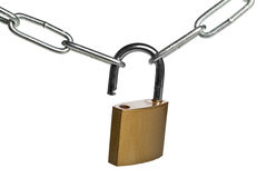 Open brass padlock connecting two chains over white background. Weakest link  concept Stock Images