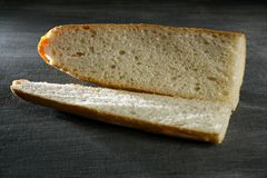 Open bread prepared to blank sandwich Royalty Free Stock Images