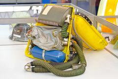 Breathing Apparatus. Open Breathing Apparatus in Backpack for Fire Fighters stock images