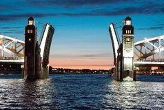 Open bridge raising,  St.Petersburg Royalty Free Stock Images