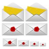 Open brief en ingesloten met een verbinding Stock Afbeelding