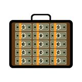 Open briefcase with bundles of different banknotes royalty free illustration