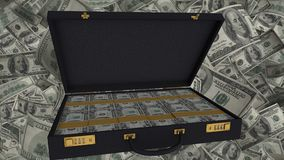 Open briefcase full of US dollar bills, corruption and bribery, financial crime. Stock footage Stock Photo