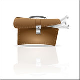 Open briefcase sticking rolls of paper drawings,  icon, portfolio business Royalty Free Stock Photos