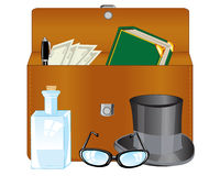 Open briefcase and subjects Stock Image