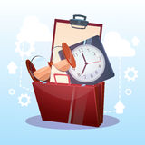 Open Briefcase Watch Time Business Deadline Concept. Flat Vector Illustration Stock Image