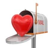 Open brievenbus met hart (het knippen inbegrepen weg) Stock Afbeeldingen
