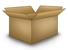 Open Brown Box. Colored illustration of a typical brown cardboard box Stock Illustration