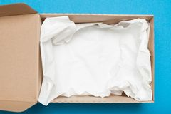 Open brown cardboard box, shipping package.  stock images