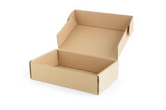 Open brown cardboard box on white background Royalty Free Stock Image