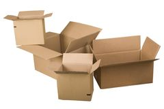 Open brown cardboard boxes. On white background Stock Photos