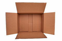 Open brown carton box. Open brown carton box isolated over white background Royalty Free Stock Image