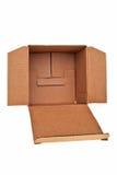 Open brown carton box. Open brown carton box isolated over white background Royalty Free Stock Photos
