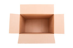 Open brown carton box isolated on white Royalty Free Stock Images