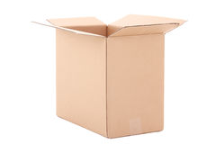 Open brown carton box over white Stock Photography