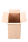 Open brown corrugated cardboard box over white Stock Images