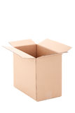 Open brown corrugated carton box over white Royalty Free Stock Photos