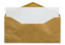 Open brown envelope with blank letter. Isolated on white background Royalty Free Stock Images