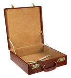 Open brown leather briefcase Stock Image