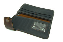 Open brown leather wallet Royalty Free Stock Images