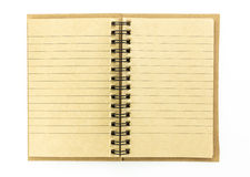 Open brown notebook isolated on white background Stock Image