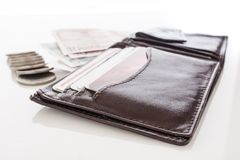 Open brown wallet Royalty Free Stock Images