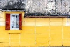 Open Brown Wooden Casement Window Stock Image