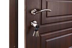 Open brown wooden door handle with lock. Stock Image