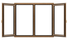 Open brown wooden window isolated on white Stock Photo