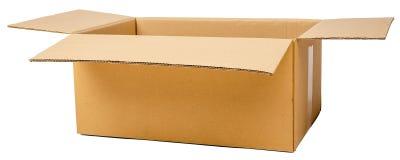 Open bruine kartondoos stock afbeeldingen