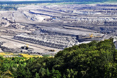 Open bruinkool - gegoten mijnbouw Stock Afbeelding