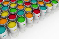 Open buckets with a paint. On a white background Royalty Free Stock Photos