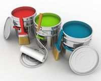 Open buckets with a paint. Brush and rollers Royalty Free Stock Photos