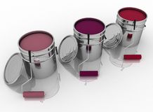 Open buckets with a paint, brush and rollers Stock Photo
