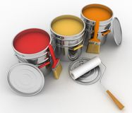 Open buckets with a paint, brush and rollers Stock Image