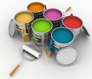 Open buckets with a paint, brush and rollers. 3d illustration on white background Stock Photos