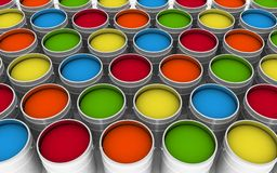 Open buckets with a paint Royalty Free Stock Photography
