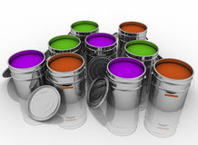 Open buckets with a paint. 3D render illustration Stock Image